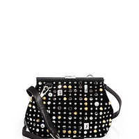 Studded Suede Frame Clutch