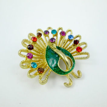 Vintage Peacock Rhinestone Brooch Designer Made Signed Don-Lin Multi Color Rhinestones Green Enamel Body Matte Gold Very Good Condition