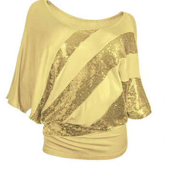 Women Sequined  Joining Together T shirt European Summer Hot Sale Half Sleeve T-shirts Plus Size Casual Solid Slash Neck Tops