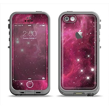 The Glowing Pink Nebula Apple iPhone 5c LifeProof Fre Case Skin Set