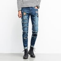 BATIGOL Men Jeans Ripped Biker Hole Denim robin patch Harem pants jeans for men