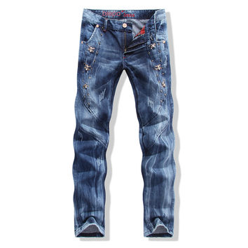 Men's Fashion Skull Mosaic Slim Denim Jeans [6541761475]