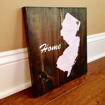 Customizable New Jersey Wood Sign, Stained and Hand Painted, Personalize, Home decor