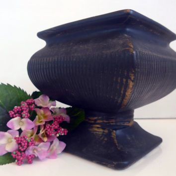 McCoy Mid Century Pedestal Vase in Black Matte With Brushed Gold - Large Vintage McCoy Pottery Square Pedestal Planter