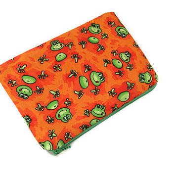 Frogs Zipper Pouch -  Cute Kids Pouch - Children Birthday Gift - Small Cosmetic Bag - Travel Organizer - Kawaii Pouch - Green and Orange
