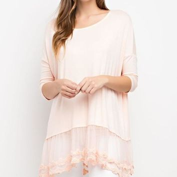 Blush Lace Trim Knit Tunic