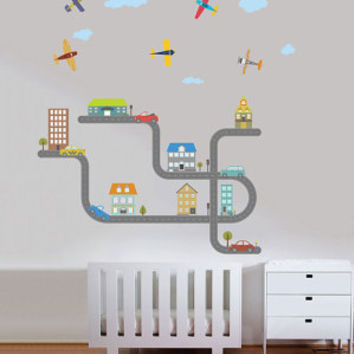 Cars-Planes-roads and city -Large City decal for boys - Reusable fabric decal-Nursery wall decals for boys