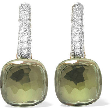 Pomellato - Nudo 18-karat white gold, prasiolite and diamond earrings