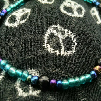 Teal Black & Dark Abstract Rainbow Beaded Stretch Anklet Gothic Rocker Summertime Ankle Bracelets