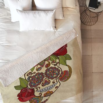 Valentina Ramos Sugar Skull Fleece Throw Blanket