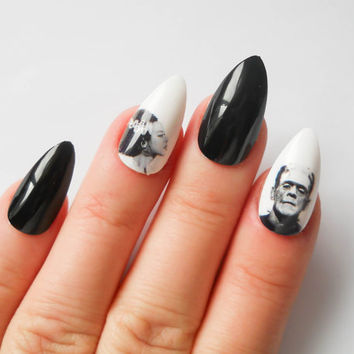 Frankenstein Fake Nails, Frankenstein, Bride of Frankenstein, Stiletto Nails, Fake Nails, Gothic Nail Art, False Nails, Acrylic Nails, Goth
