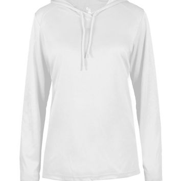 Badger 4165 B-Core Long Sleeve Ladies Hood Tee - White