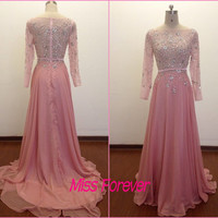 Long Sleeve Evening Dress,Pink Chiffon Prom Dresses,A-line Beads Crystal Party Dress,Floor Length Women Dress