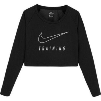 CREYUP0 Nike Casual Long Sleeve Crop Top Shirt Sweater Pullover