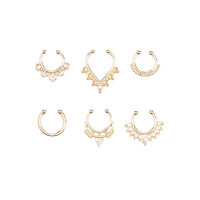 Faux Septum Rings - 6 Pack