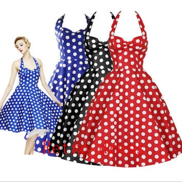 Summer Style Retro Audrey Hepburn Vestidos Woman Vintage 50s 60s Dress Big Swing Polka Dot Backless Rockabilly Plus Size