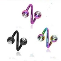 3 Pc Lot Rainbow, Black, Silver Anodized Titanium Twist Spiral Ring Lip Tragus Eyebrow Ear Belly Nipple - 16g 16 Gauge