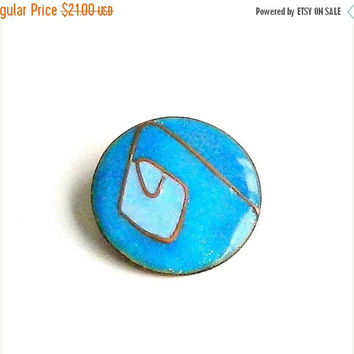 SALE Vintage Blue Enamel Pin 1960s Abstract Copper Brooch Deep Blue Sky Blue Handcrafted Jewelry