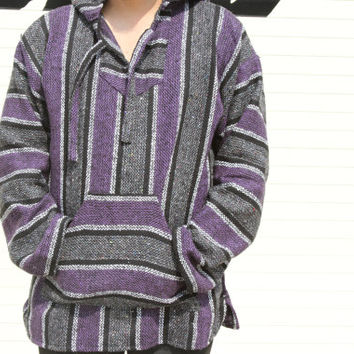 X-Large Baja Hoodie, Authentic Hand Woven Mexican Baja Hoodies Sweater, Bohemian Gypsy Beach Sweater Drug Rug, Purple / Charcoal