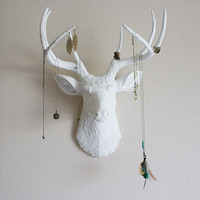 White deer head wall mount by BananaTreeStudios on Etsy