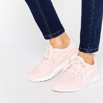 Pink | Puma Carson Runner Camo Mesh Pale Pink Sneakers at ASOS