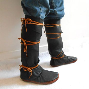 Tall Moccasin Boots, Black Leather Mocs, Custom Made, Mountain Man, Festival, Renaissance Faire, Reenactment, Boho, Hippie, Woodland, Celtic