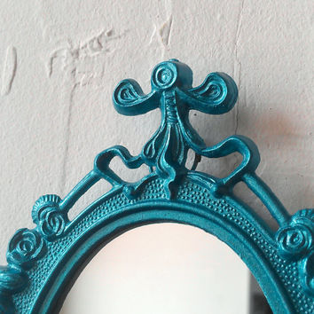 Vintage Oval Mirror in Shimmering Aqua Decorative Metal Frame, Teal Home Decor, Perfect for Nursery, Apartment Wall and More!
