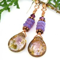 Metallic Violet Copper Teardrop Earrings, Czech Glass Purple Handmade Fashion Jewelry