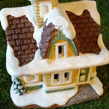 Hand Painted House, Railroad Station, Christmas Village House, Ceramic House, Holiday Tea Light House, Collectible House, Vintage