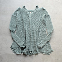 oversize thermal sweater with cold shoulder - dusty aqua