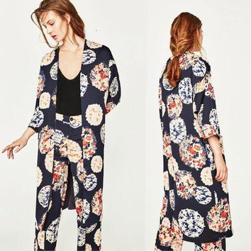 Women's Bohemia Floral Tassel Long Kimono Oversized Shawl Tops Retro Shirt