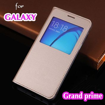 Slim Thin View Shell Shockproof Bag Flip Cover Leather Case Holster For Samsung Galaxy Grand prime G530 G530F G530H G531H G531F