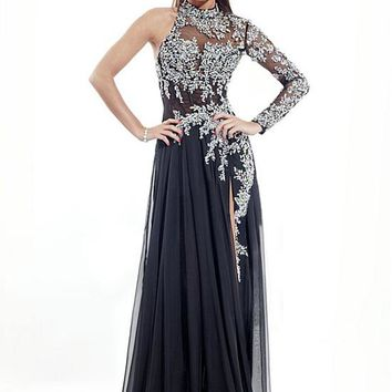 [153.59] Charming Silk-like Chiffon High Collar Neckline Sheath Evening Dress With Beadings & Rhinestones - dressilyme.com