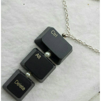 Control alt delete,  computer key necklace,  keyboard jewelry,  geek chic, computer nerd, pc necklace,  eco jewelry, upcycled necklace