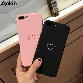Aokin Cute Phone Case For iPhone X 8 7 6 6s Plus 5 5s SE Fashion Couples Love Heart Ultra Hard PC Cover Cases For iPhone 8 Coque