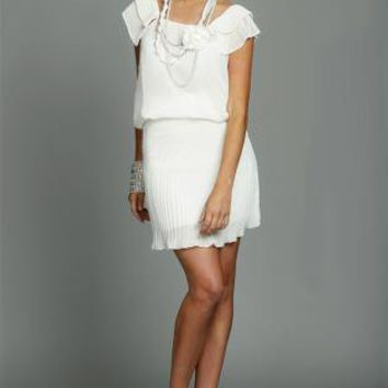 White Pencil/High Waist Skirt - White Pleated Skirt with Side   UsTrendy