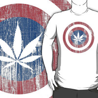 Cool Captain America-Inspired Pot Leaf Red White and Blue Distressed T-Shirt
