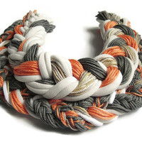 Colorful African necklace, Braided jewelry, Big necklace, Cotton necklace, Unique colorful necklace, Ethnic necklace, Orange grey necklace
