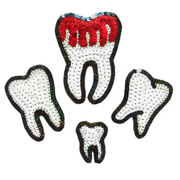 Custom Handmade Bloody Teeth Sequin Patches