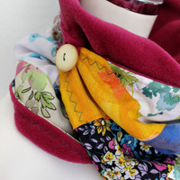 Chunky pink scarf, Warm neck, cowl, collar scarf, buttons shawl, infinity scarves, patchwork scarf, unique scarf, colorful scarves