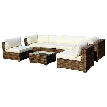2015 All Weather Outdoor Wicker Sectional 7-Piece Resin Couch Set
