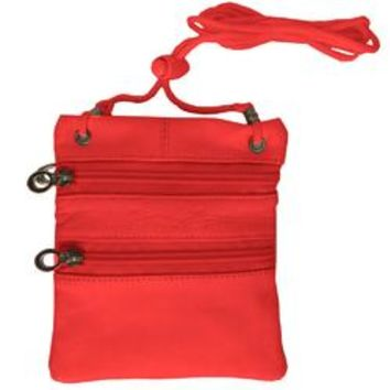 Small Soft Leather Cross Body Purse-Red Color