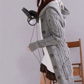 Fashion Hooded Knit Cardigan Jacket