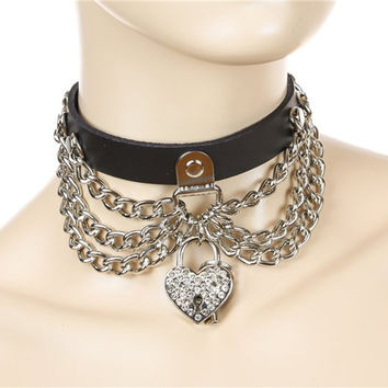 Silver Metal Chain Heart Locket Choker Alternative Clothing Emo Collar