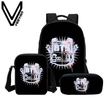 VEEVANV BTS Combination Packages 3D Prints Chirldren Backpacks In The Mood for Love Book Backpack Digital Pattern Bag Brand 2017