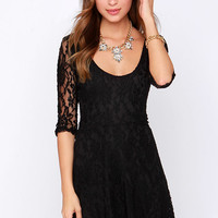 LULUS Exclusive Head Over Feels Black Lace Dress