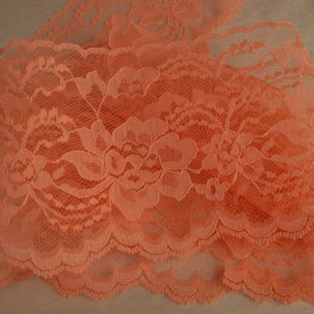 "Coral Lace Trim, 4"" wide, Apparel, Doll Clothes, Bridal Accessories, Sachets, Lace for Invitations, Mason Jars, Lace Favor Wraps, 5 YARDS"