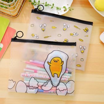22*18 cm Novelty Gudetama Lazy Egg Cartoon PVC Document Bag File Folder Stationery Organizer for students kids school supplies