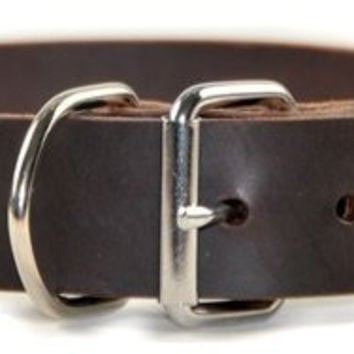 "Dean and Tyler ""SILVER TAG"", Dog Collar with Engravable Id Plate and Nickel Hardware - Brown - Size 34"" by 1-1/2"" - Fits Neck 32"" to 36"""