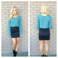 Blousy Long Sleeve Mini Dress